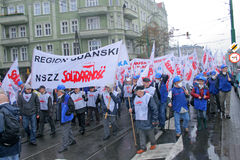 Workers strike in Poland Stock Photo