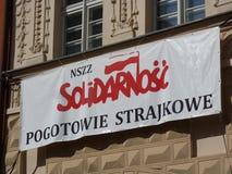 Workers strike solidarność. Polish 'Solidarnosc' workers warning strike stock image