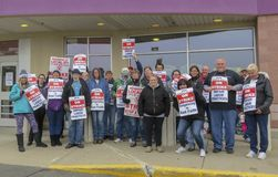 Workers Striking Outside of Stop & Shop in Wallingford, Connecticut. On Thursday, April 11, 2019, cashiers and deli workers at 240 Stop & Shop locations royalty free stock photos