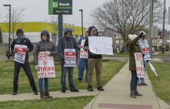 Workers Striking Outside of Stop & Shop in Wallingford, Connecticut. On Thursday, April 11, 2019, cashiers and deli workers at 240 Stop & Shop locations stock image