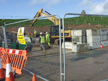 Workers Swanage stabilisation works Royalty Free Stock Photos