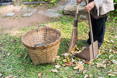 Workers are sweeping leaves Royalty Free Stock Photo