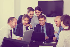 Workers talking about business project in office Royalty Free Stock Images