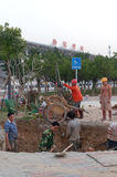 Workers at Tangjiawan Station Royalty Free Stock Image