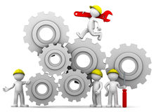 Workers team with gear mechanism Royalty Free Stock Images