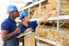 Workers timber department Stock Image