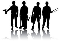 Workers with tools. Isolated workers silhouettes with different tools Stock Image