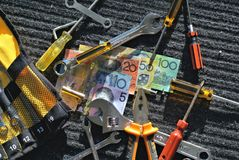 Workers tools and Australian dollars Royalty Free Stock Image
