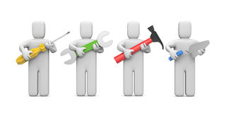 Workers with tools. Image contain clipping path Royalty Free Stock Photo