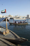 Workers in Traditionall Abra Ferry Boat Dubai UAE Royalty Free Stock Photo