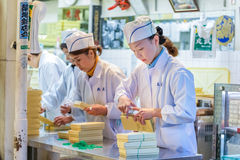 Workers at Tsukiji Market in Tokyo Royalty Free Stock Photos