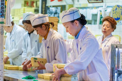 Workers at Tsukiji Market in Tokyo Royalty Free Stock Image