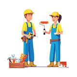 Workers in uniform. Painter and carpenter craftsman. Flat style modern vector illustration Stock Photography