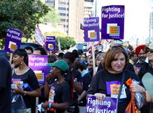 Workers United at a Parade Stock Image