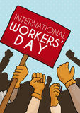 Workers United in Workers' Day Commemorative March, Vector Illustration Royalty Free Stock Image