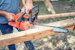 Workers using a chainsaw cutting and sawing industrial construction wood. Laborer slicing timber Stock Photo