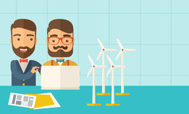 Workers using laptop with windmills. A two caucasian workers using laptop with windmills as power generator.  A Contemporary style with pastel palette, soft Stock Images