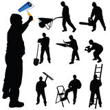 Workers in various trades and tools vector illustration Stock Photography