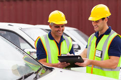 Workers vehicles report Stock Image