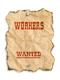 Workers wanted. Western style - Workers Wanted - notice on grunge paper - isolated on white Stock Photography