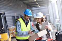 Workers in warehouse checking on recpetion of goods. Store manager with warehouseman checking goods reception Stock Photography