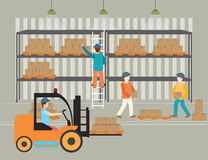 Workers of warehouse load boxes. Workers of warehouse load boxes and pallet to stacks using forklifts, vector illustration vector illustration