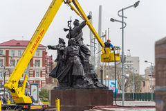 Workers wash the monument. Stock Image