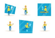 Workers wash windows Royalty Free Stock Photos