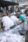 Workers washing clothes at Dhobi Ghat in Mumbai, Maharashtra, In Royalty Free Stock Photos