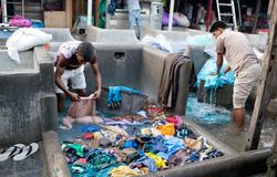 Workers washing clothes at Dhobi Ghat in Mumbai, Maharashtra, In Royalty Free Stock Photo