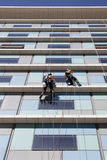 Workers washing the windows facade Royalty Free Stock Images