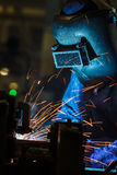 Workers weld car industry Royalty Free Stock Image