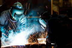 Workers weld car industry Royalty Free Stock Images