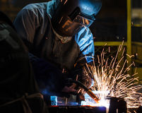 Workers weld car industry Stock Photography