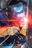 Workers welding construction by MIG welding Stock Images