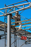 Workers welding steel structures Royalty Free Stock Photos