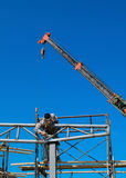 Workers welding steel structures Stock Photos