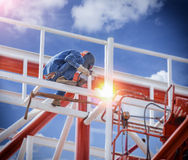 Workers welding royalty free stock images