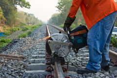 Workers were cutting tracks . Royalty Free Stock Photos