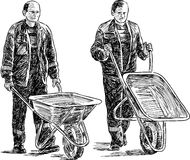 Workers with wheelbarrows. Vector sketch of the men at a work Royalty Free Stock Photo