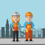 Workers woman and man construction employee. Vector illustration Stock Photos