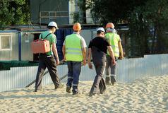 Workers are working at the construction of the road Royalty Free Stock Images