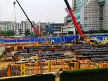 Workers working in construction site in wuhan city stock photo