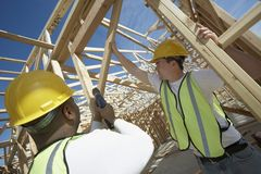 Workers Working In Framework At Site Royalty Free Stock Image
