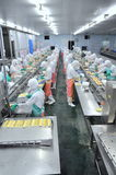 Workers are working hard on a production line in a seafood factory in Ho Chi Minh city, Vietnam Royalty Free Stock Photo