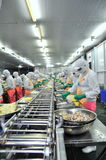 Workers are working hard on a production line in a seafood factory in Ho Chi Minh city, Vietnam Stock Photos