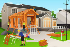Workers Working on Home Renovation Royalty Free Stock Photography