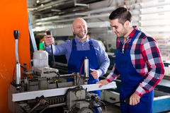Workers working on a lathe Royalty Free Stock Photo