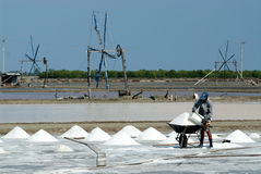 Workers are working at a salt farm in Thailand. SAMUTSONGKHRAM,THAILAND - FEB 18: Unidentified workers carrying salt at the salt farm on February 18,2014 in royalty free stock images