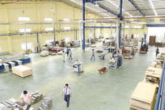 Workers are working in a wood factory for exporting Royalty Free Stock Photo